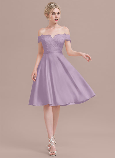 A-Line/Princess Off-the-Shoulder Knee-Length Satin Lace Bridesmaid Dress With Beading Sequins