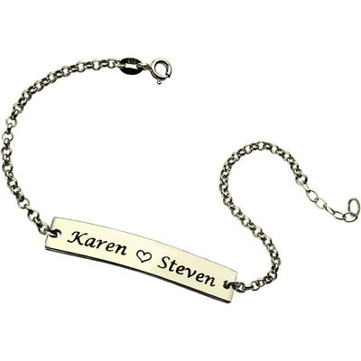 Custom Link & Chain Name Bracelets Engraved Bracelets With Heart - Valentines Gifts For Her