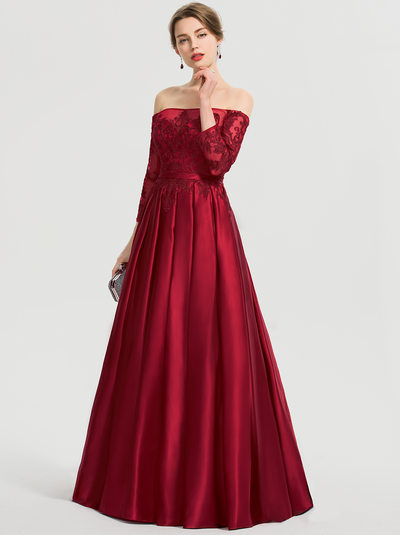 Duchesse-Linie/Princess Off-the-Schulter Bodenlang Satin Ballkleid