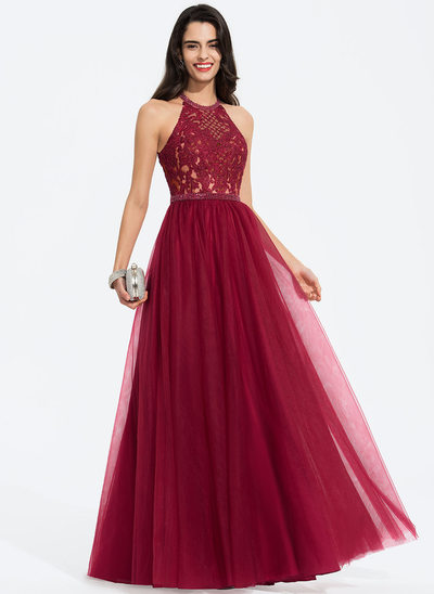 A-Line Scoop Neck Floor-Length Tulle Prom Dresses With Beading Sequins