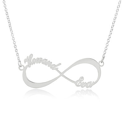 Christmas Gifts For Her - Custom Sterling Silver Infinity Two Name Necklace Infinity Name Necklace