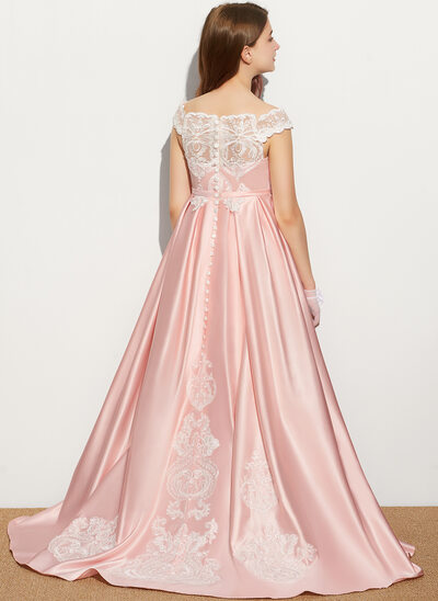 Ball-Gown/Princess Off-the-Shoulder Sweep Train Satin Lace Junior Bridesmaid Dress