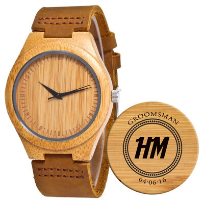 Groomsmen Gifts - Personalized Mens Custom Engraved Leather Bamboo Watches