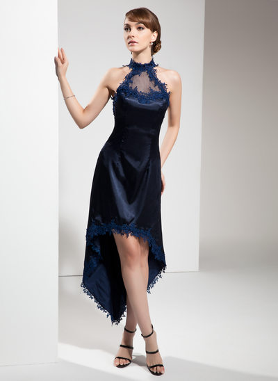 A-Line/Princess Halter Asymmetrical Charmeuse Cocktail Dress With Appliques Lace
