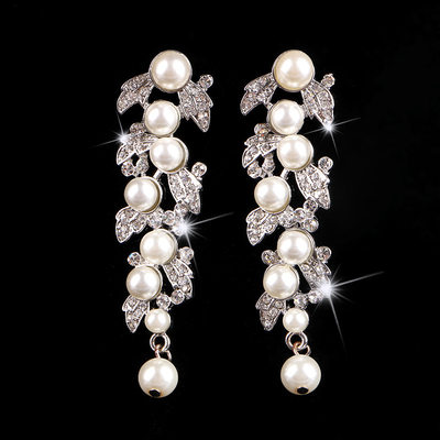 Beautiful Alloy/Rhinestones/Imitation Pearls With Imitation Pearls Ladies' Earrings