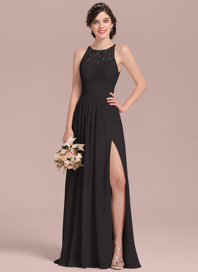 A-Line/Princess Scoop Neck Floor-Length Chiffon Lace Prom Dresses With Ruffle Split Front
