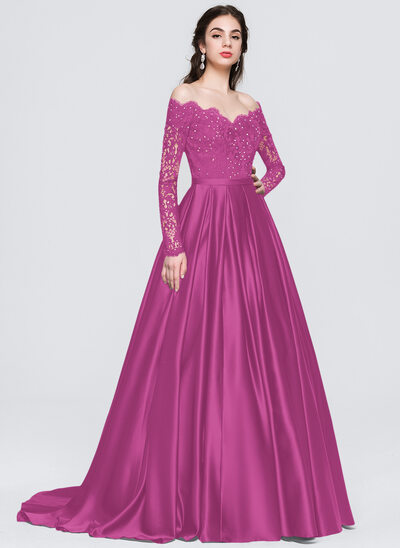 Ball-Gown Off-the-Shoulder Sweep Train Satin Prom Dresses With Beading