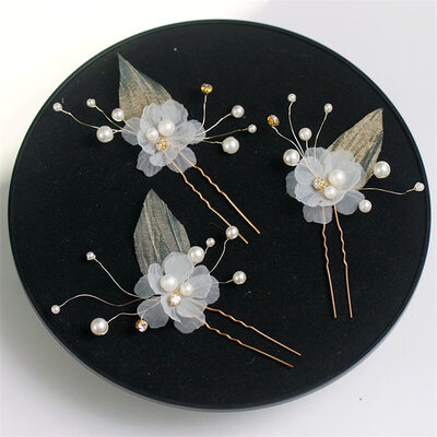 Flower Shaped Copper/Ribbon Hairpins With Venetian Pearl (Set of 6)