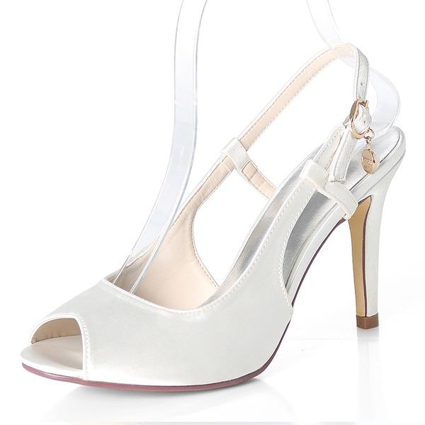 Women's Silk Like Satin Stiletto Heel Peep Toe Pumps Sandals Slingbacks With Buckle