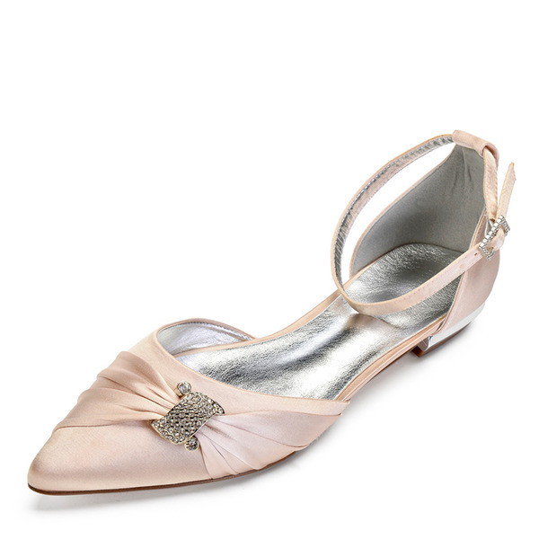 Women's Satin Flat Heel Closed Toe Flats Sandals With Crystal