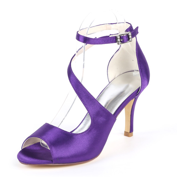 Women's Cloth Stiletto Heel Peep Toe Sandals With Buckle