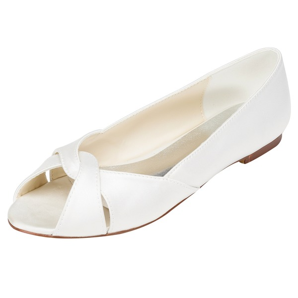 Women's Satin Flat Heel Flats With Others