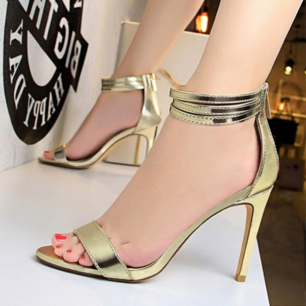 Women's Leatherette Stiletto Heel Peep Toe Pumps Sandals With Zipper