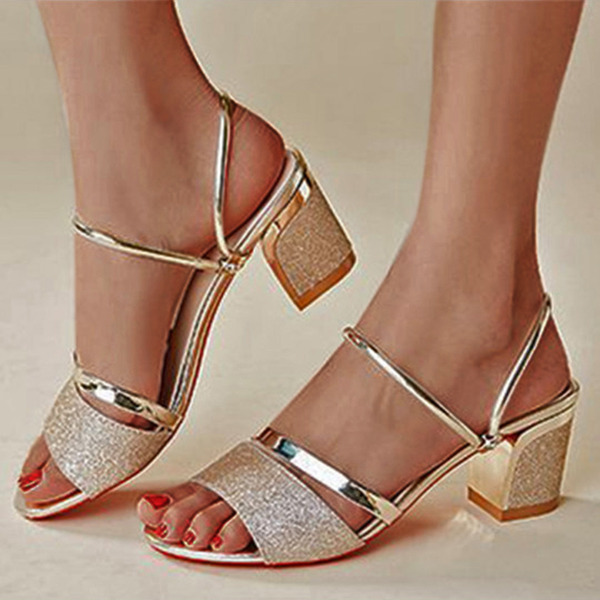 Women's PU Chunky Heel Peep Toe Pumps Sandals With Hollow-out