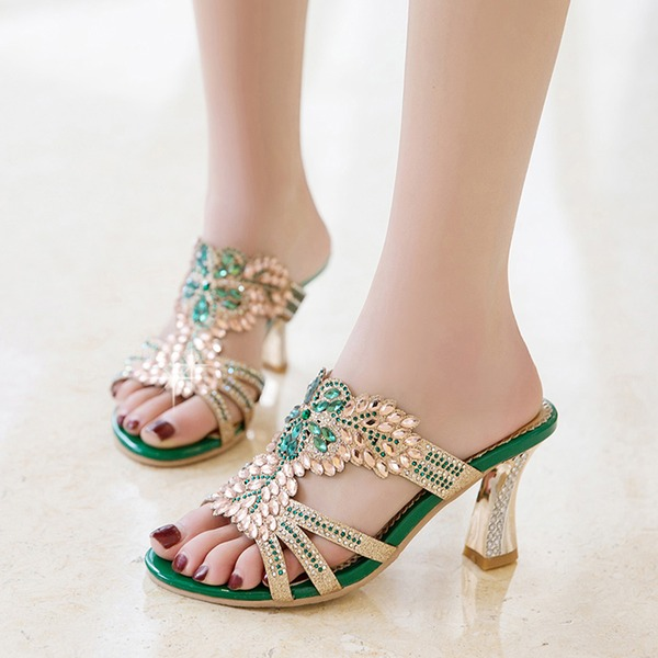 Women's Leatherette Stiletto Heel Sandals With Rhinestone