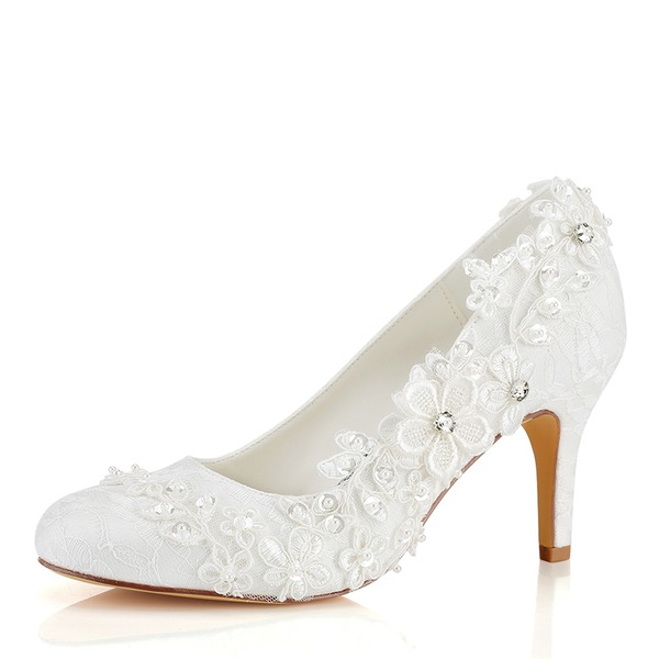 Women's Silk Like Satin Stiletto Heel Closed Toe Pumps With Applique
