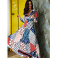 Patchwork Print Backless A-line V-Neck Long Sleeves Maxi Sexy Vacation Skater Dresses