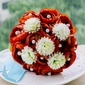 Classic Round Satin/Venetian Pearl/Imitation Pearl Bridal Bouquets -
