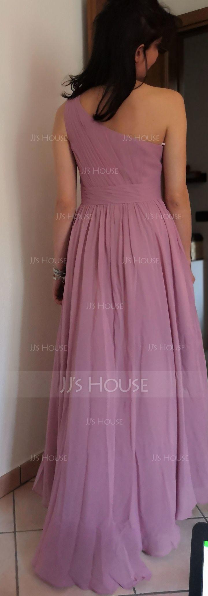 One-Shoulder Asymmetrical Chiffon Bridesmaid Dress With Cascading Ruffles (266195973)