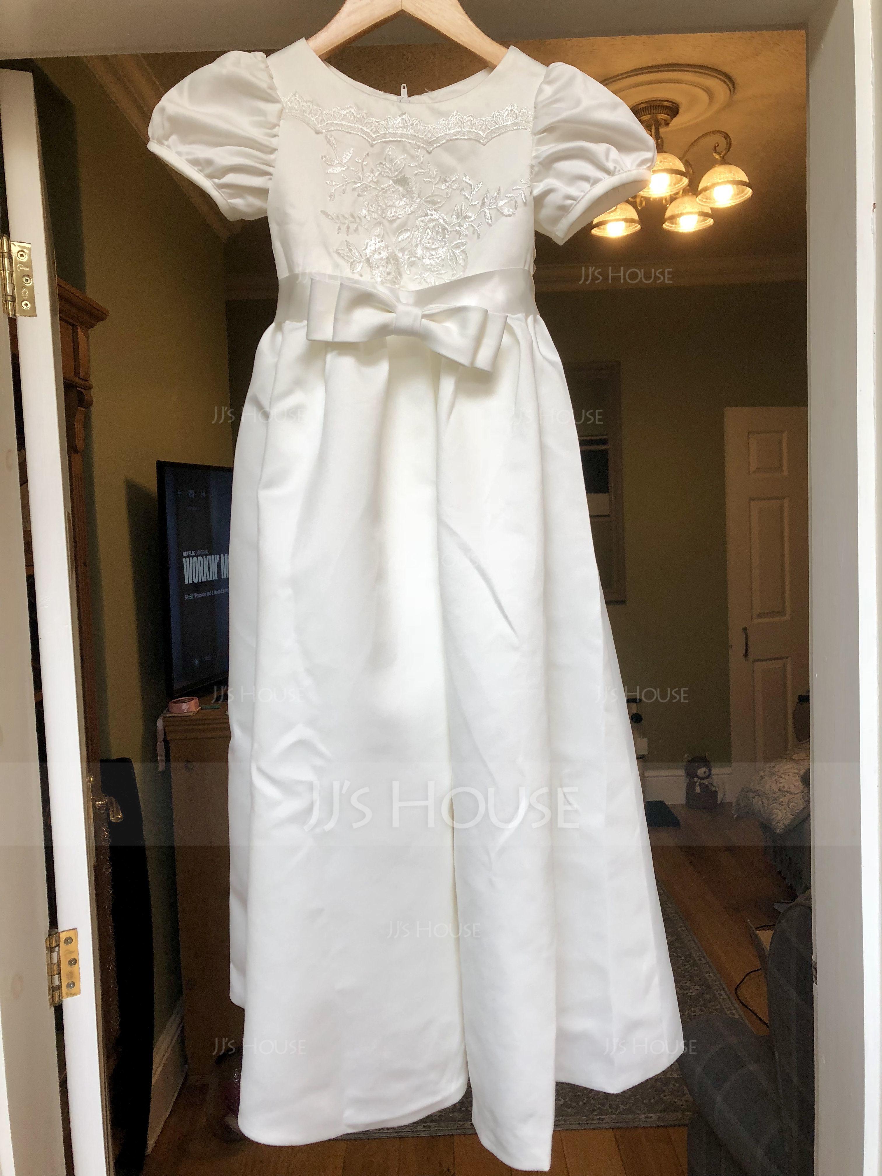 A-Line/Princess Ankle-length Flower Girl Dress - Satin Lace Short Sleeves Scoop Neck (269177241)