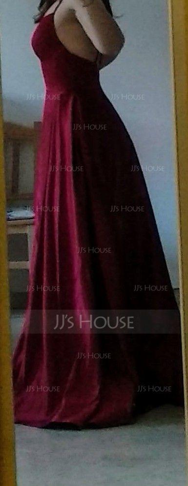 A-Line V-neck Floor-Length Satin Prom Dresses With Split Front Pockets (018220223)