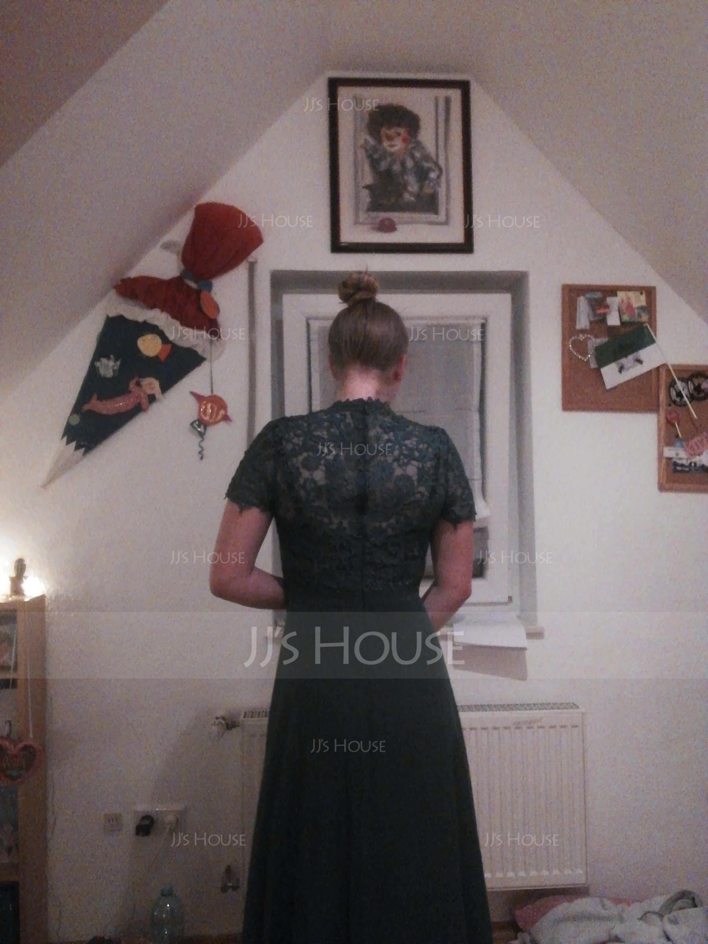 High Neck Floor-Length Chiffon Evening Dress (271194566)