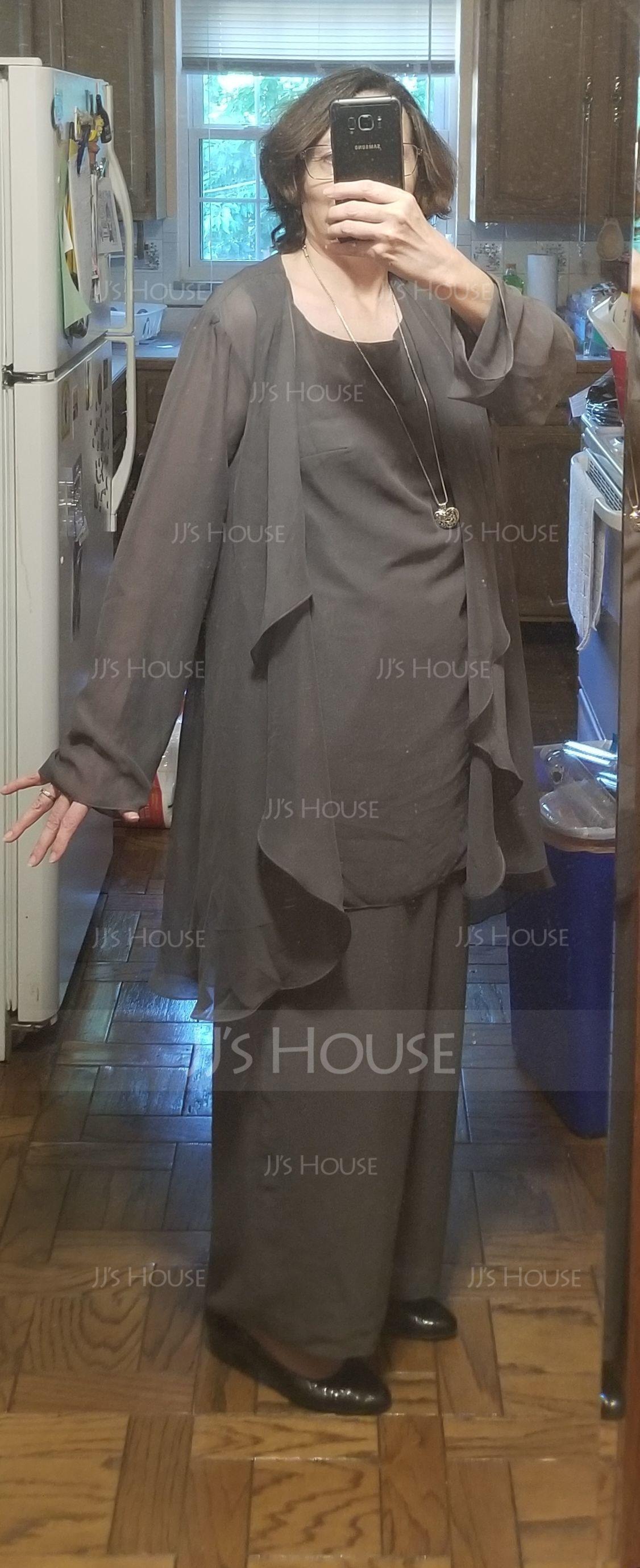 Áčkové Šaty Kruhový výstřih Délka na zem Šifón Šaty pro matku nevěsty (008179214)