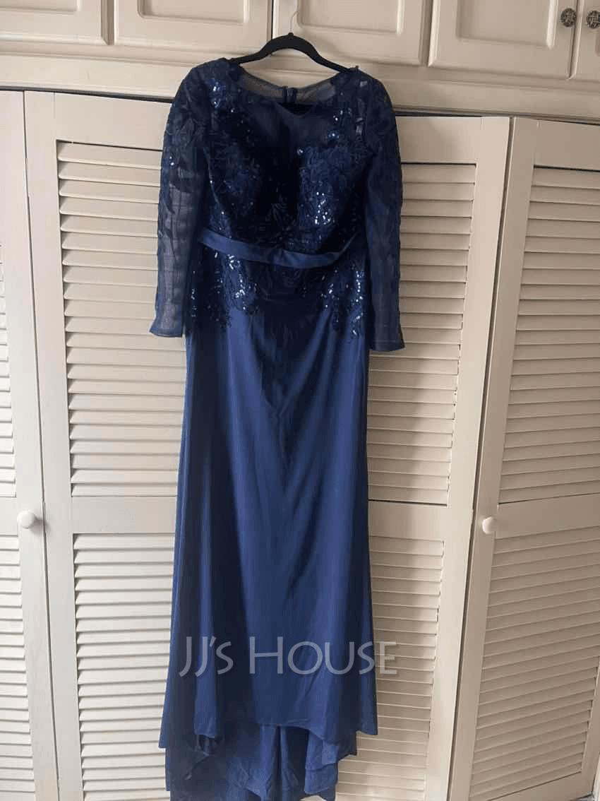 Trumpet/Mermaid Scoop Neck Sweep Train Jersey Evening Dress With Sequins
