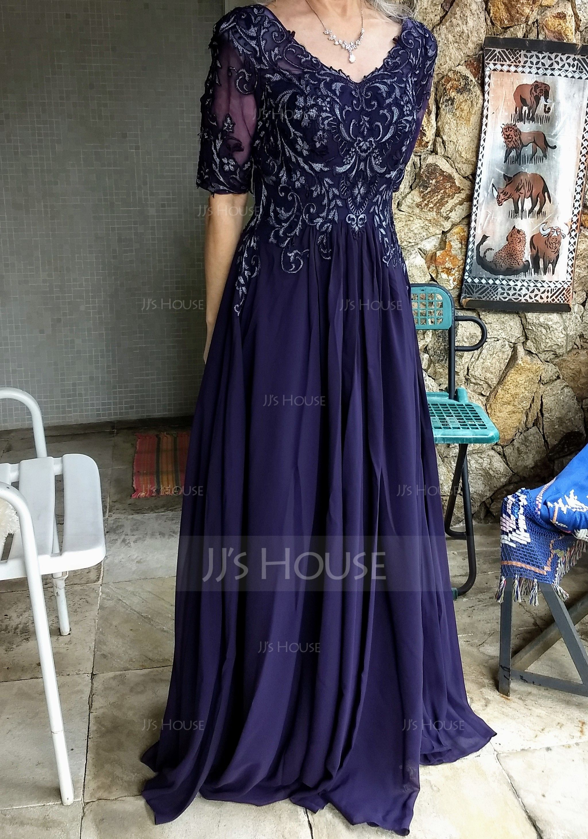 V-neck Floor-Length Chiffon Lace Mother of the Bride Dress (267204628)
