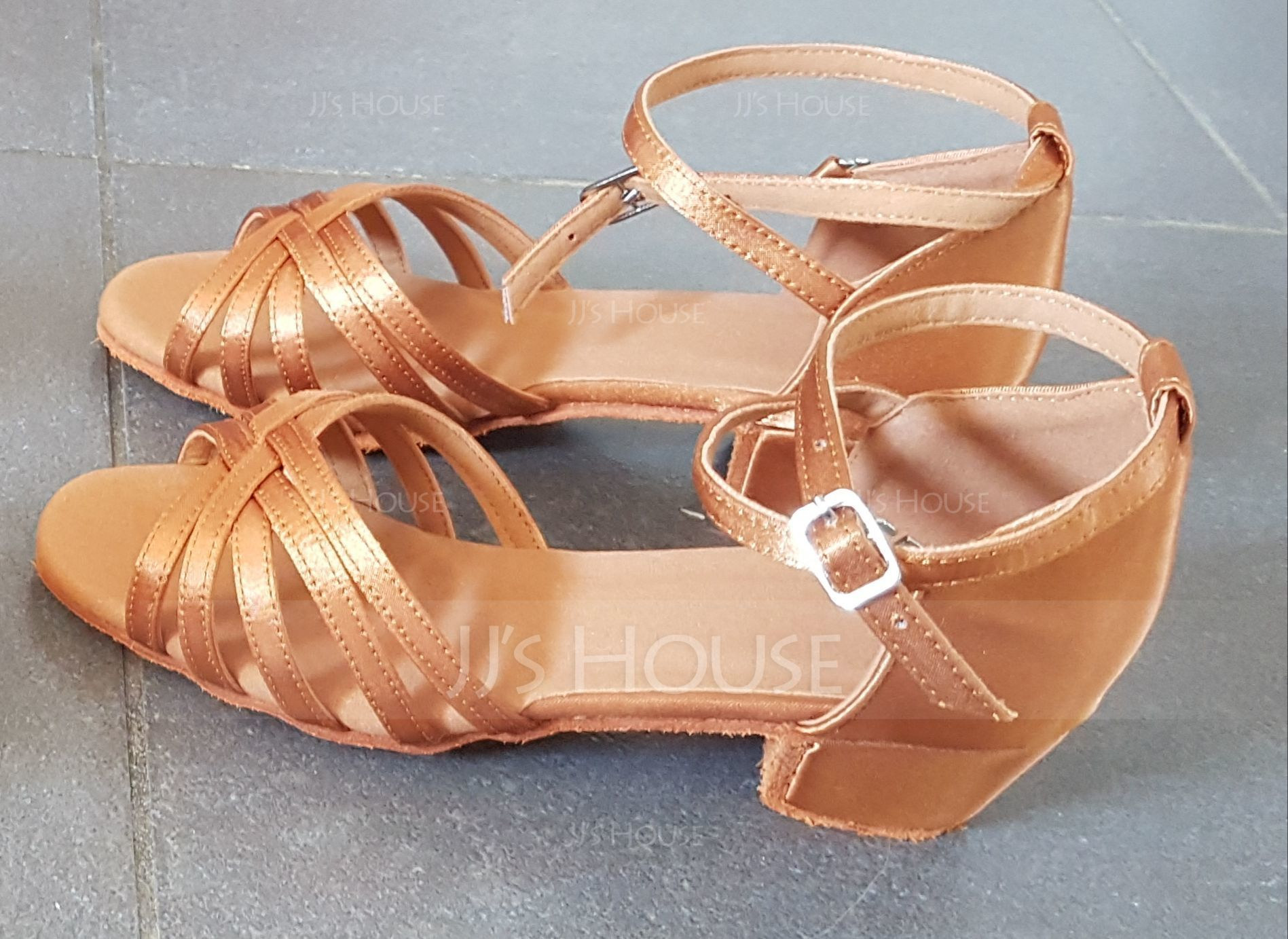 Kids' Satin Sandals Flats Latin With Ankle Strap Dance Shoes (053009738)