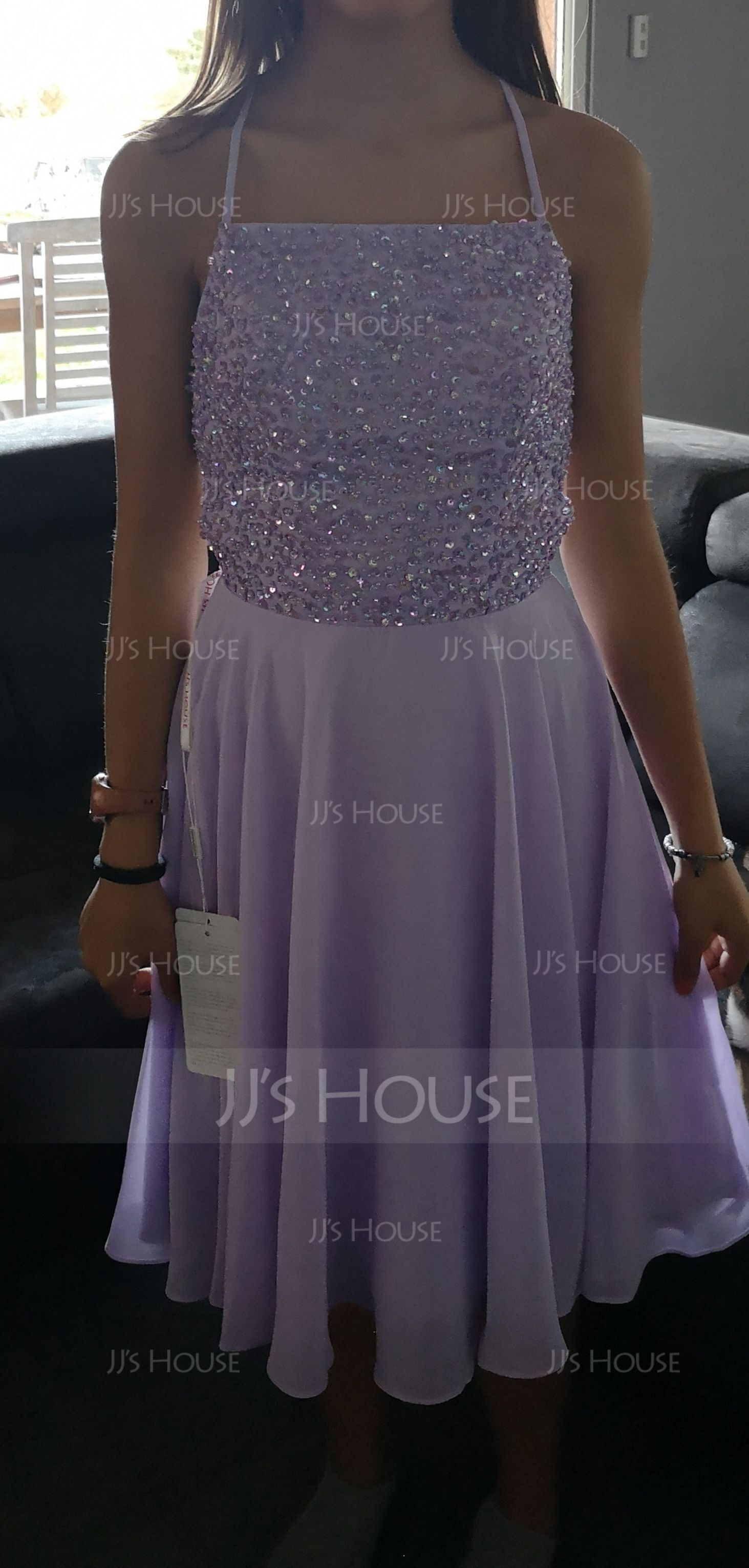 A-Line Square Neckline Knee-Length Chiffon Homecoming Dress With Beading Sequins (300244248)