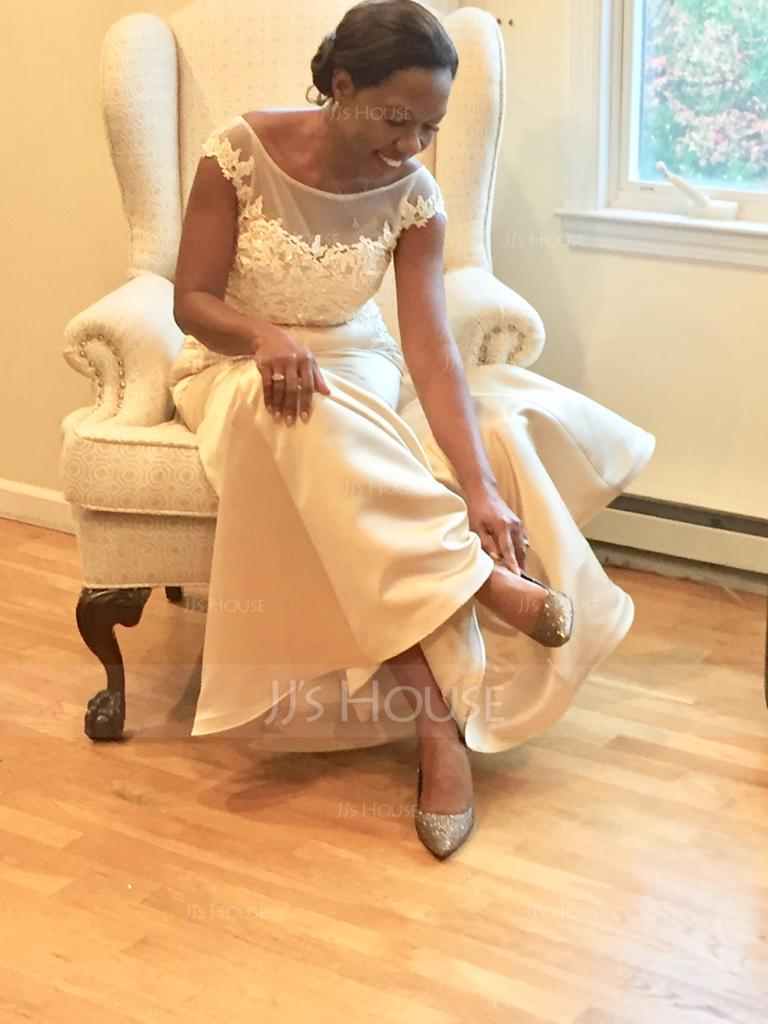 Trumpet/Mermaid Scoop Neck Floor-Length Satin Lace Mother of the Bride Dress With Beading Sequins (008114239)