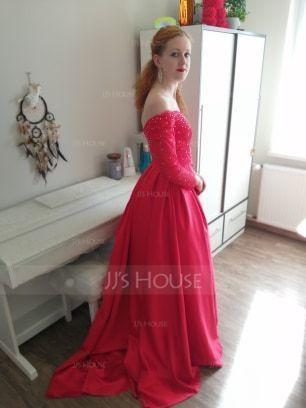 Ball-Gown/Princess Off-the-Shoulder Sweep Train Satin Prom Dresses With Beading (018146362)