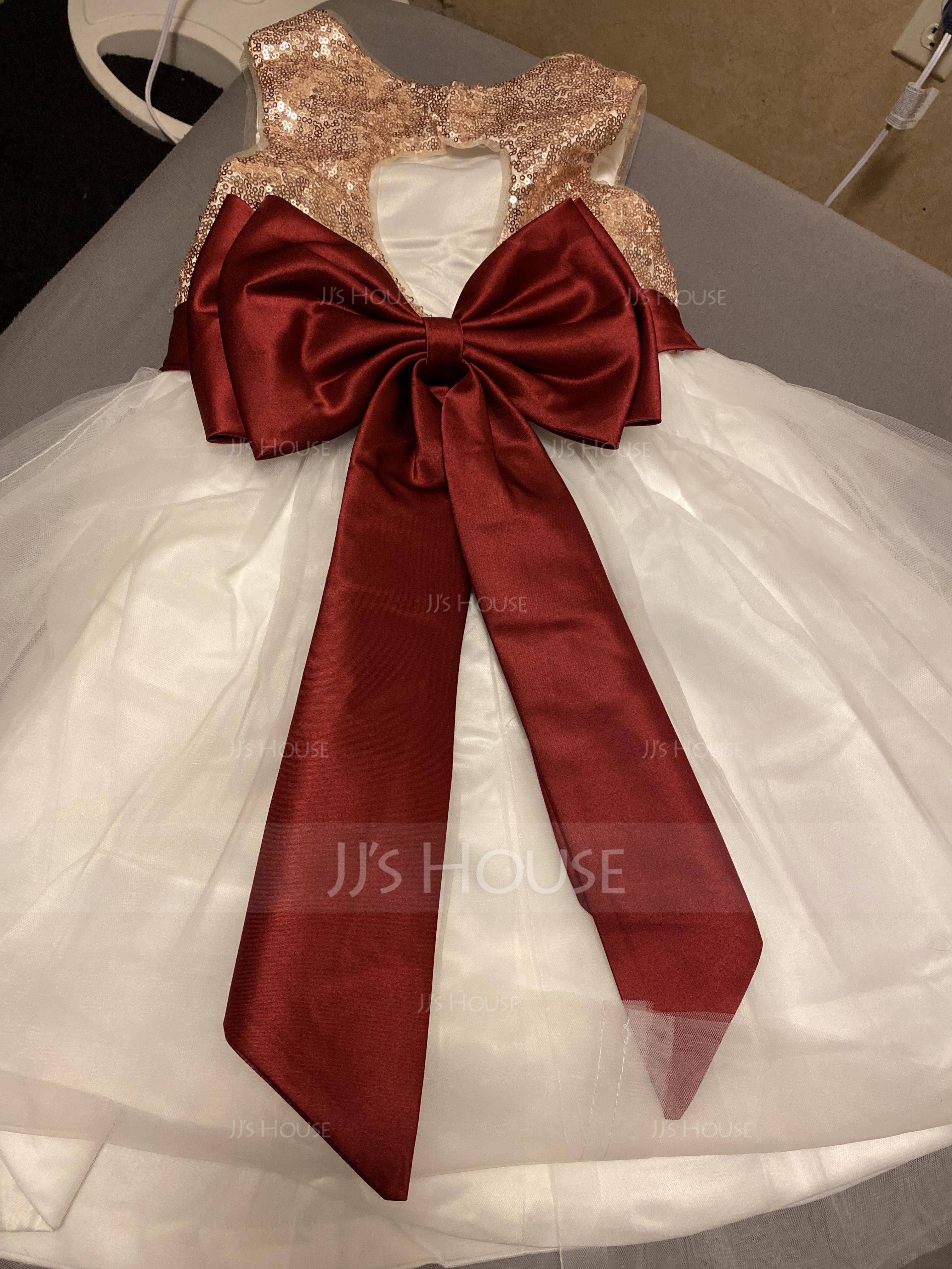 Aライン/プリンセスライン2 膝上丈 フラワーガールのドレス - サテン/チュール/Sequined 袖なし スクープネック とともに スパンコール/弓 着脱不能サッシ