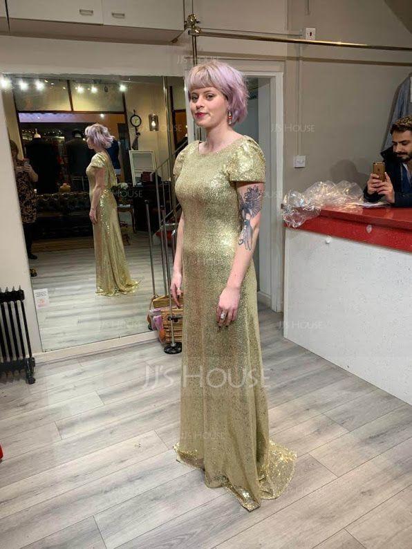 Mořská panna Kruhový výstřih Dlouhá vlečka Sequined Šaty pro družičku S Kaskádové Volánky (266183082)