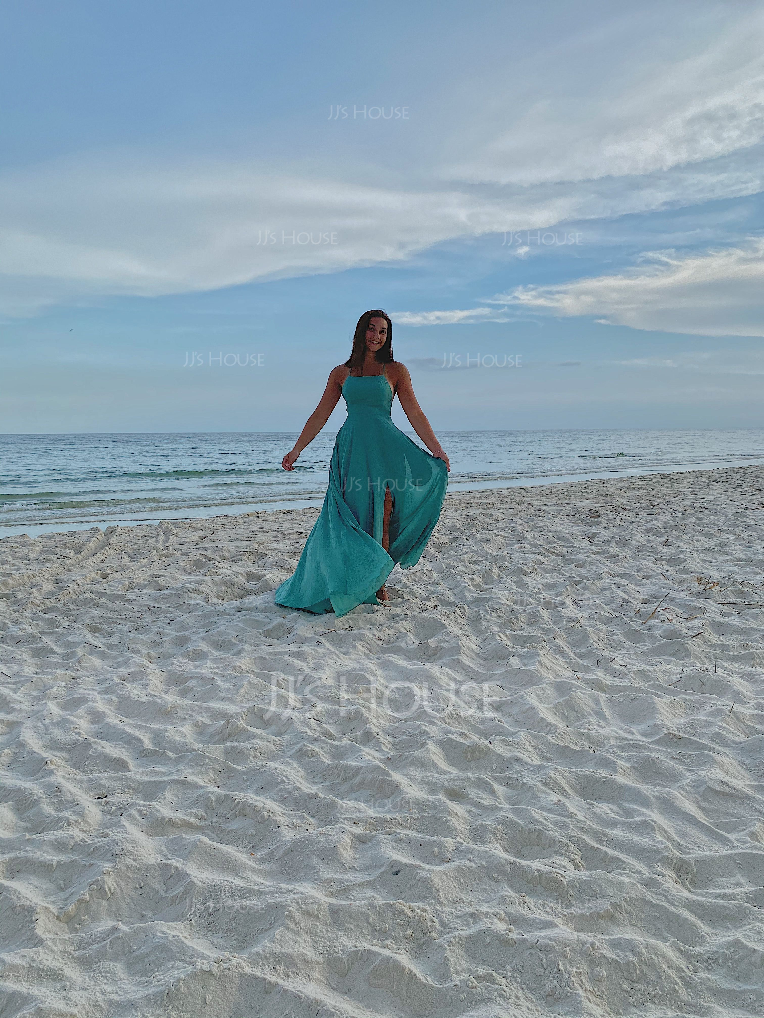 A-Line Square Neckline Floor-Length Chiffon Bridesmaid Dress With Split Front Pockets (007230682)