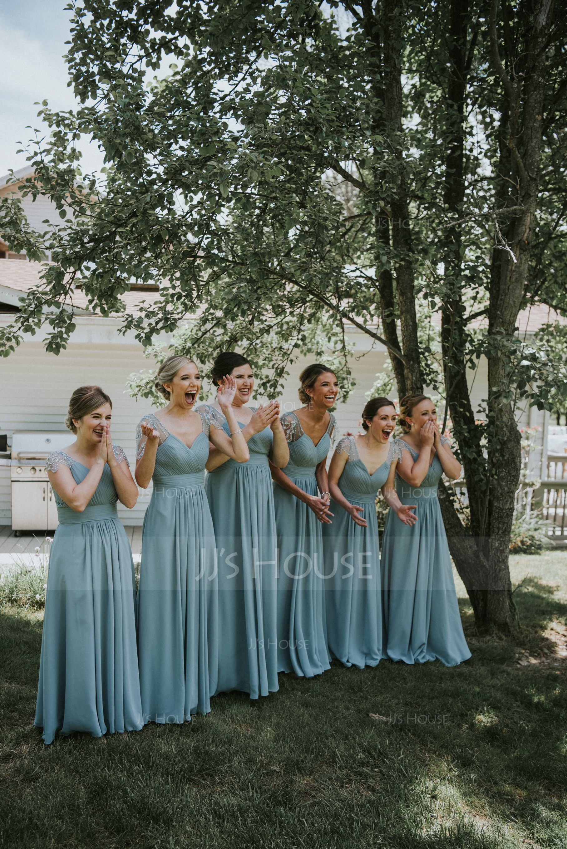 A-Line V-neck Floor-Length Chiffon Bridesmaid Dress With Ruffle Beading Sequins (007144737)