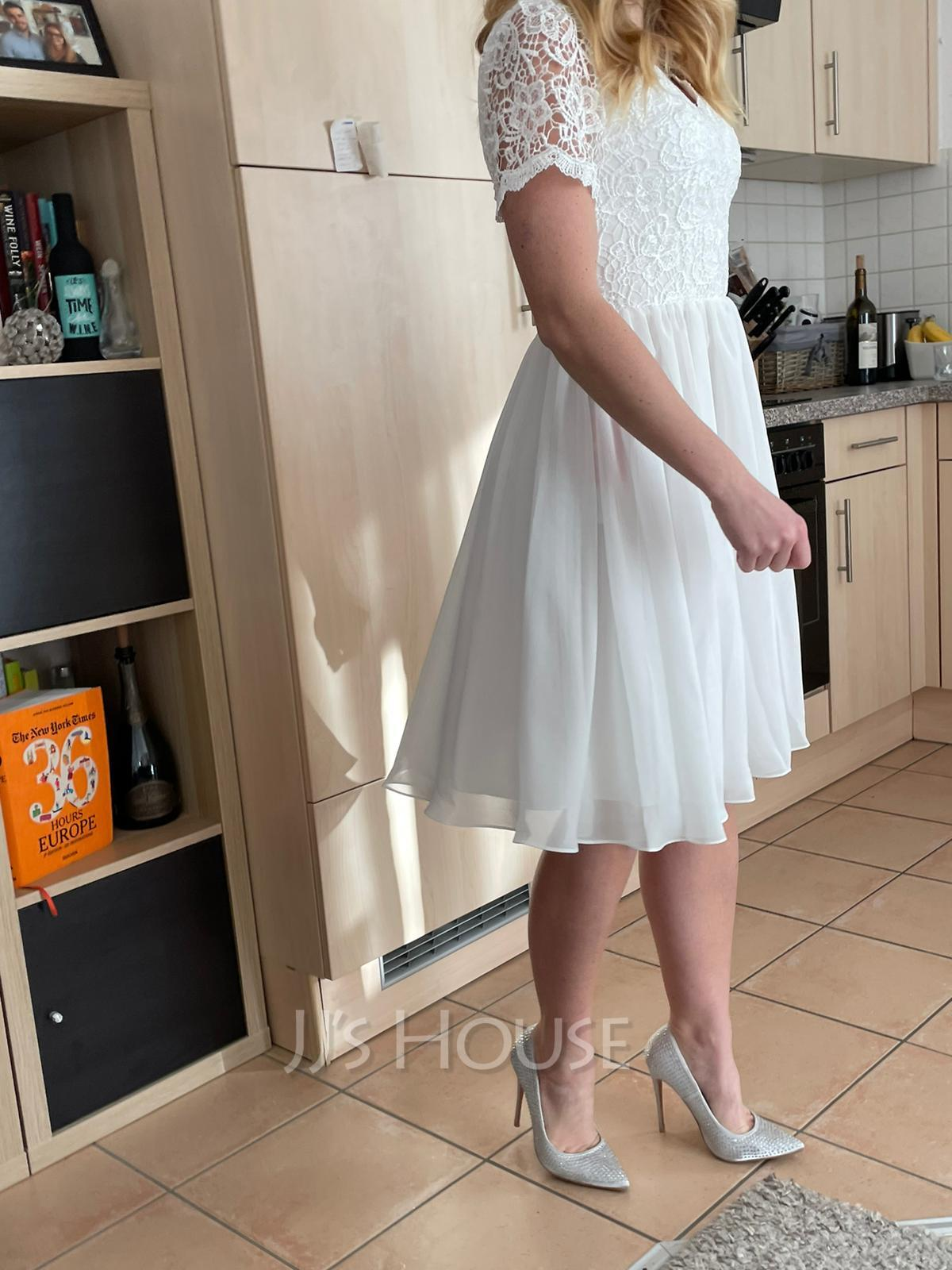Chiffon V-Neck Short Sleeves Midi A-line Dresses (293250210)