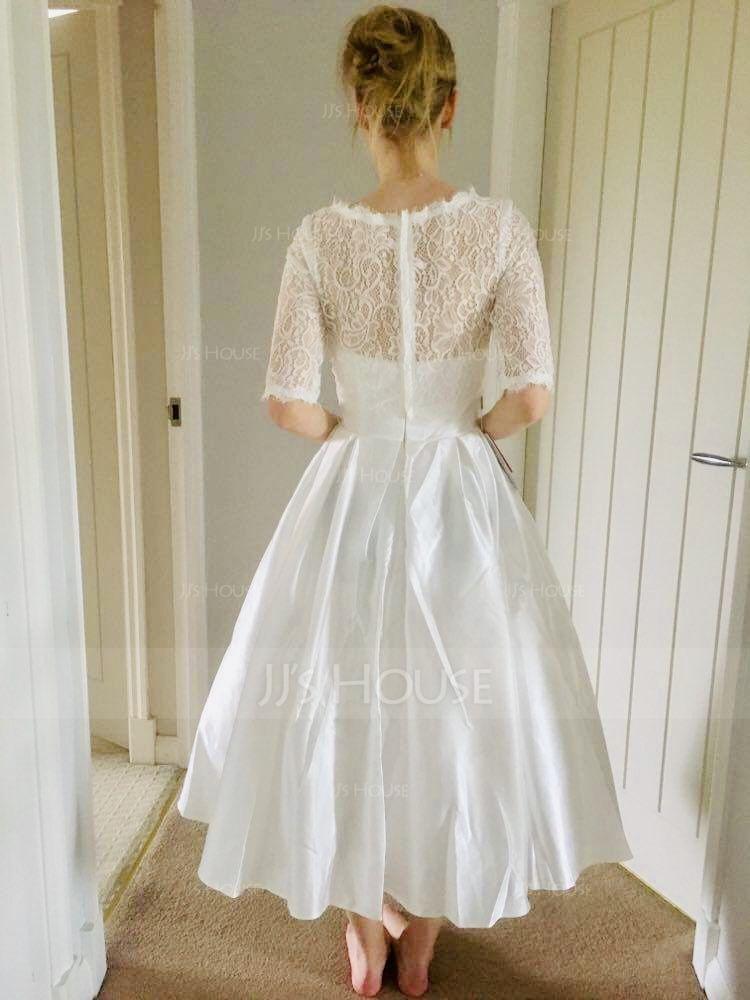 Ball-Gown Sweetheart Tea-Length Satin Wedding Dress With Pockets (002071568)
