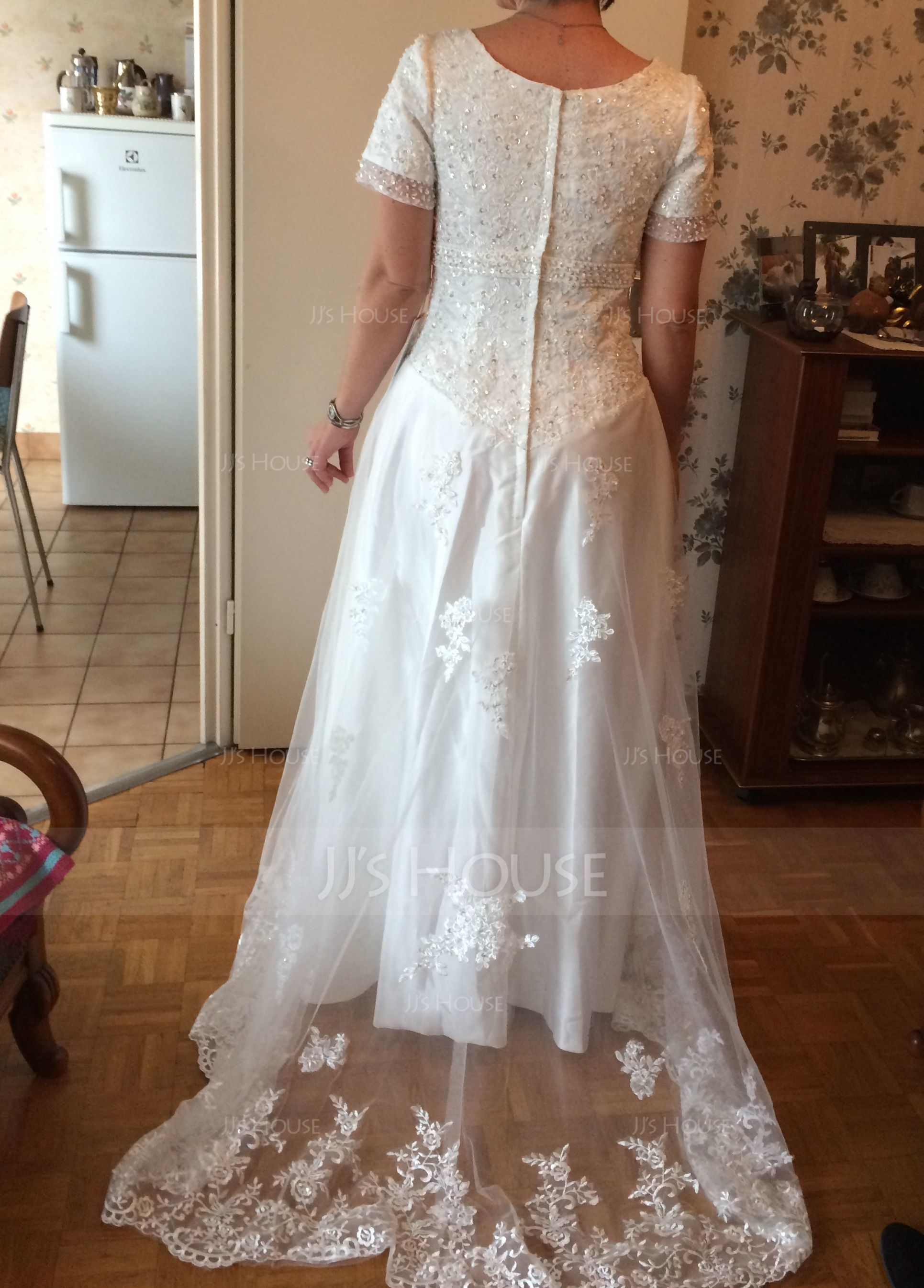 A-Line/Princess Scoop Neck Sweep Train Organza Wedding Dress With Beading Appliques Lace (002000311)