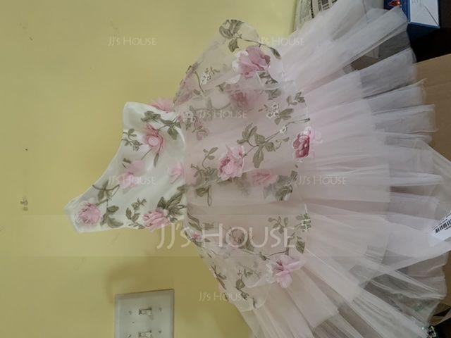 A-Linie/Princess-Linie Knielang Blumenmädchenkleid - Tüll Ärmellos Eine Schulter mit Blumen (010104951)