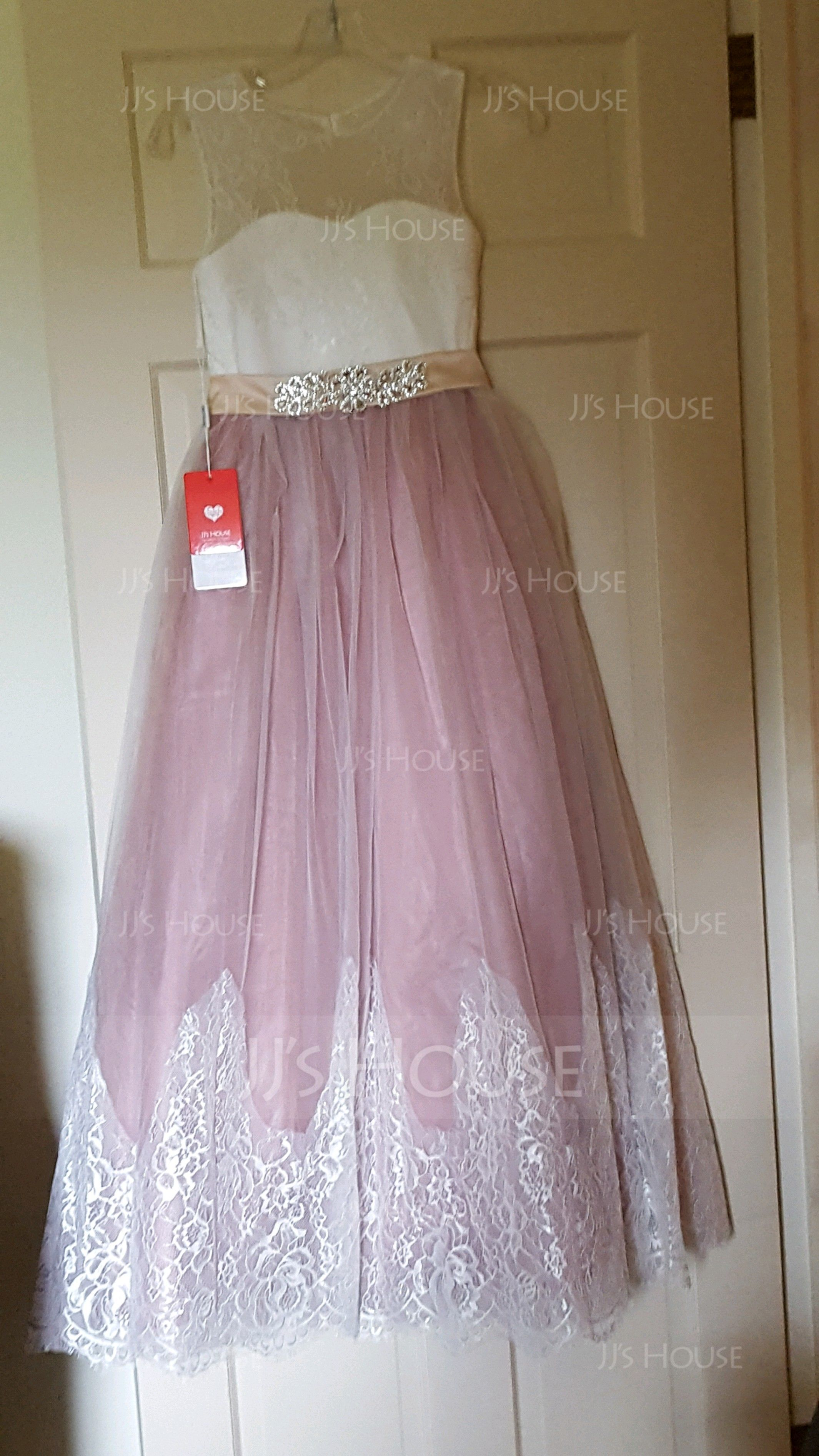 Ball-Gown/Princess Floor-length Flower Girl Dress - Satin/Tulle/Lace Sleeveless Scoop Neck With Rhinestone/Back Hole (010143277)