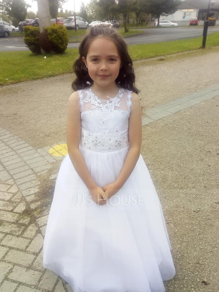 A-Line/Princess Floor-length Flower Girl Dress - Satin/Tulle/Lace Sleeveless Scoop Neck With Appliques (010130855)