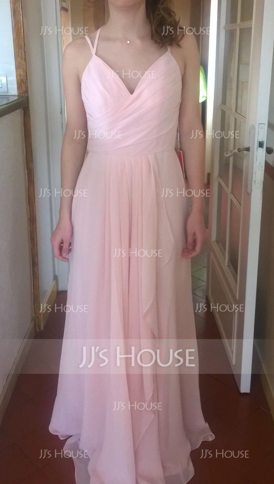 A-Line Sweetheart Floor-Length Chiffon Bridesmaid Dress With Cascading Ruffles (007126452)