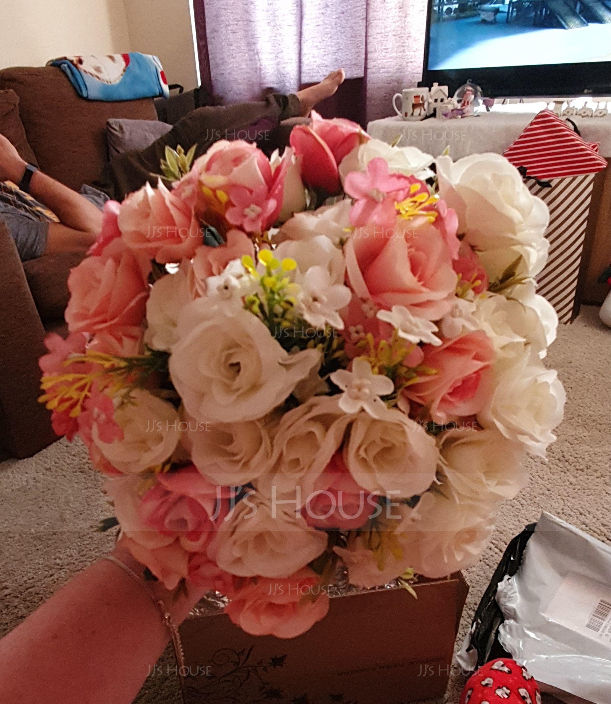 Hand-tied Satin Bridal Bouquets/Bridesmaid Bouquets - (123123090)