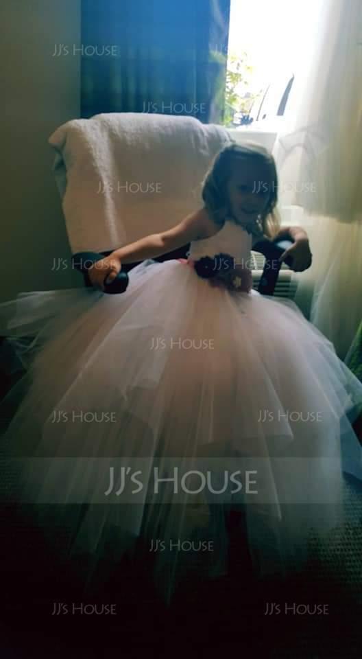 A-Line/Princess Scoop Neck Floor-Length Tulle Junior Bridesmaid Dress (009136441)