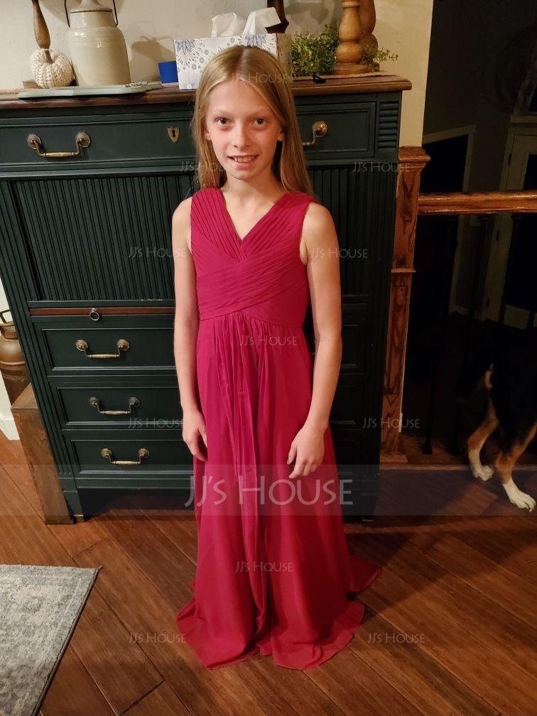 V-neck Floor-Length Chiffon Junior Bridesmaid Dress With Ruffle (268225019)
