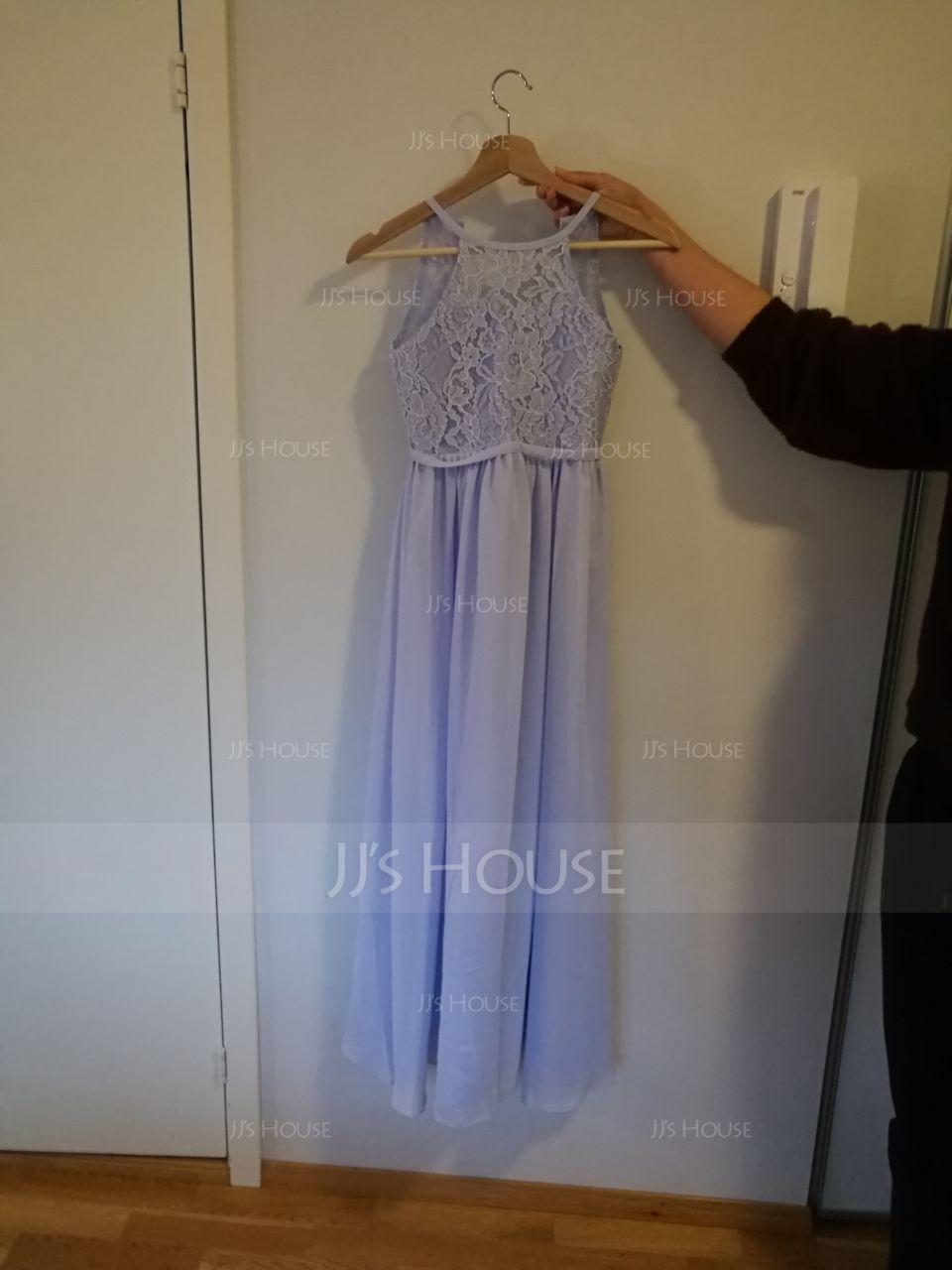 A-Line/Princess Floor-length Flower Girl Dress - Chiffon/Lace Sleeveless Scoop Neck (010113801)