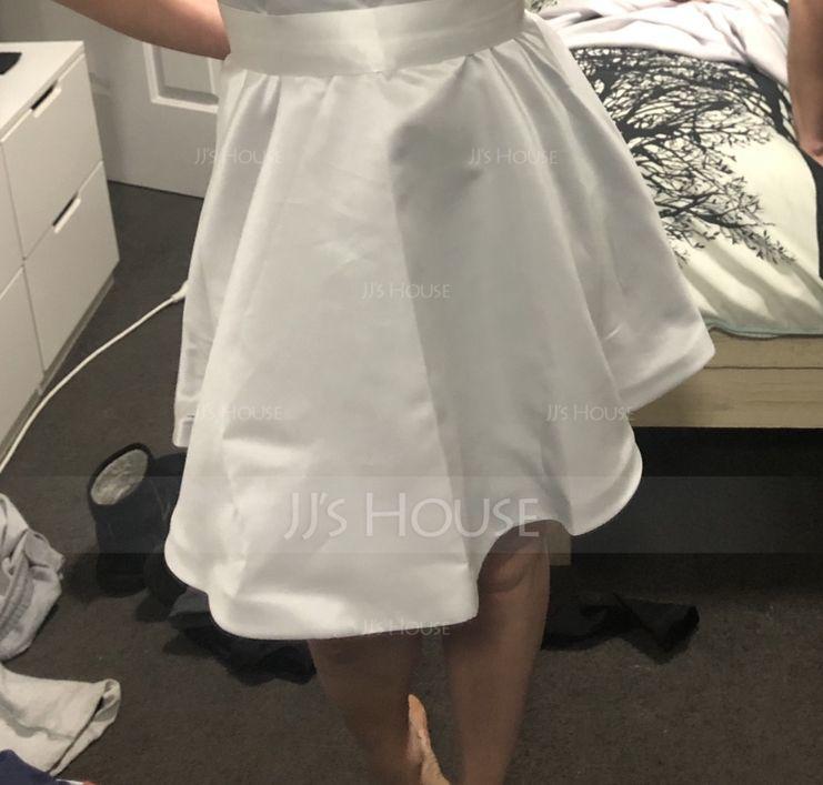 A-Line High Neck Short/Mini Satin Homecoming Dress (022127948)