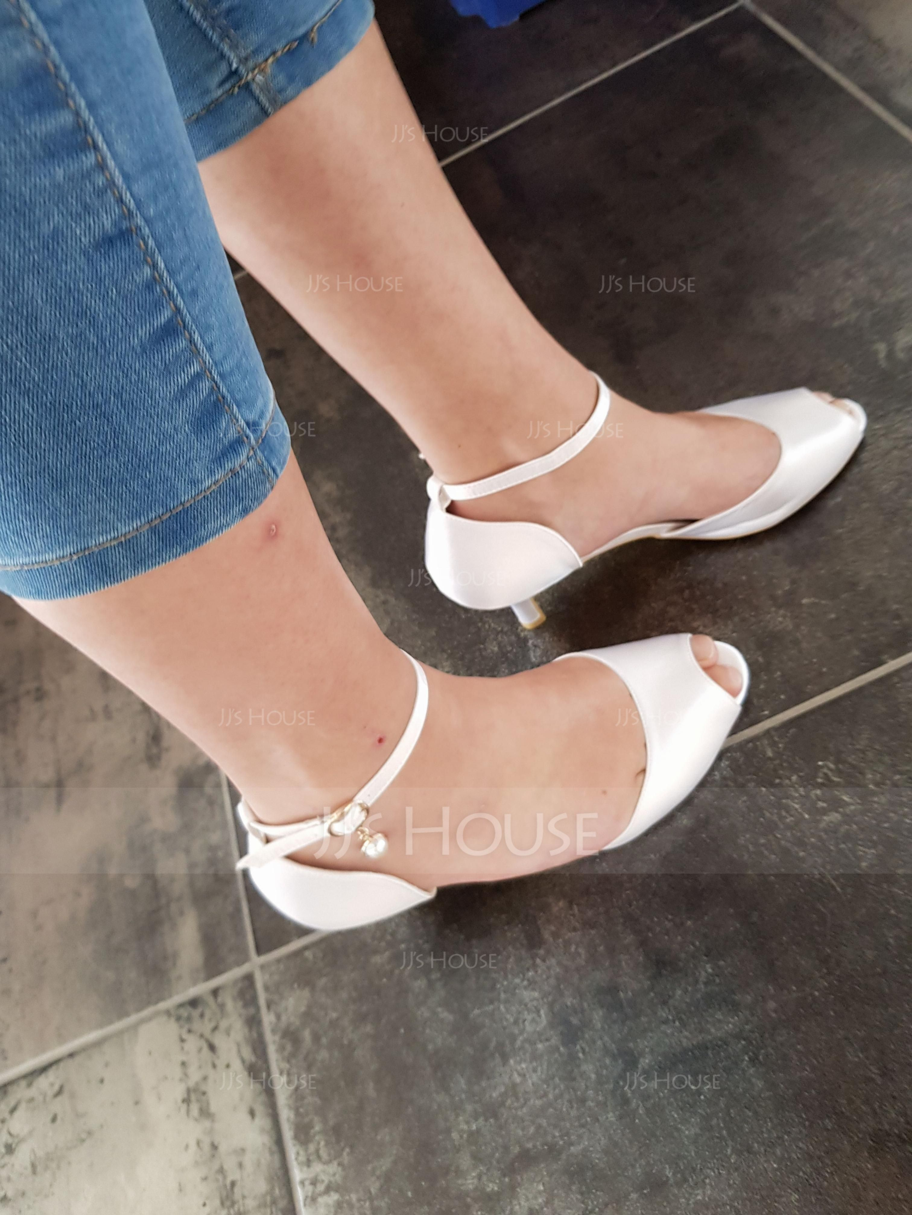 Women's Silk Like Satin Stiletto Heel Pumps With Imitation Pearl (273194883)